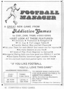 The first ever advert for Football Manager by Kevin Toms