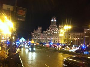 Central Madrid, Police and fans after Real win El Clasico!